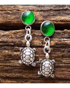 Recycled Emerald Glass Turtle Earrings