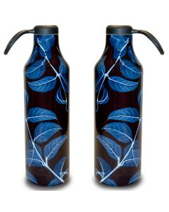 Large Blue Leaves Stainless Steel Water Bottle